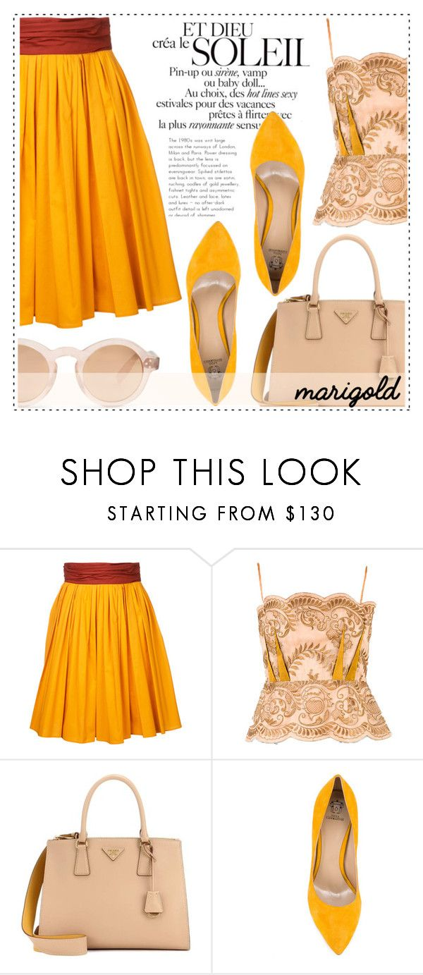 """Stay Golden: Dressing in Marigold"" by alaria ❤ liked on Polyvore featuring Paule Ka, STELLA McCARTNEY, Prada, Paula Cademartori, Zanzan and marigold"