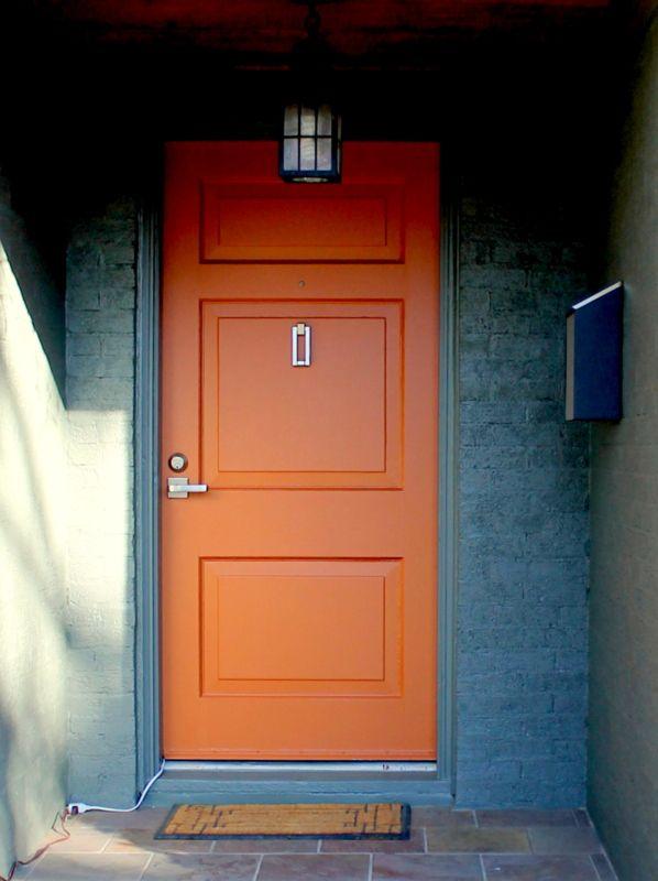 New Paint Orange Door Sherwin Williams Copper Mountain 6356 P Orange Front Doors Orange Door House Paint Exterior