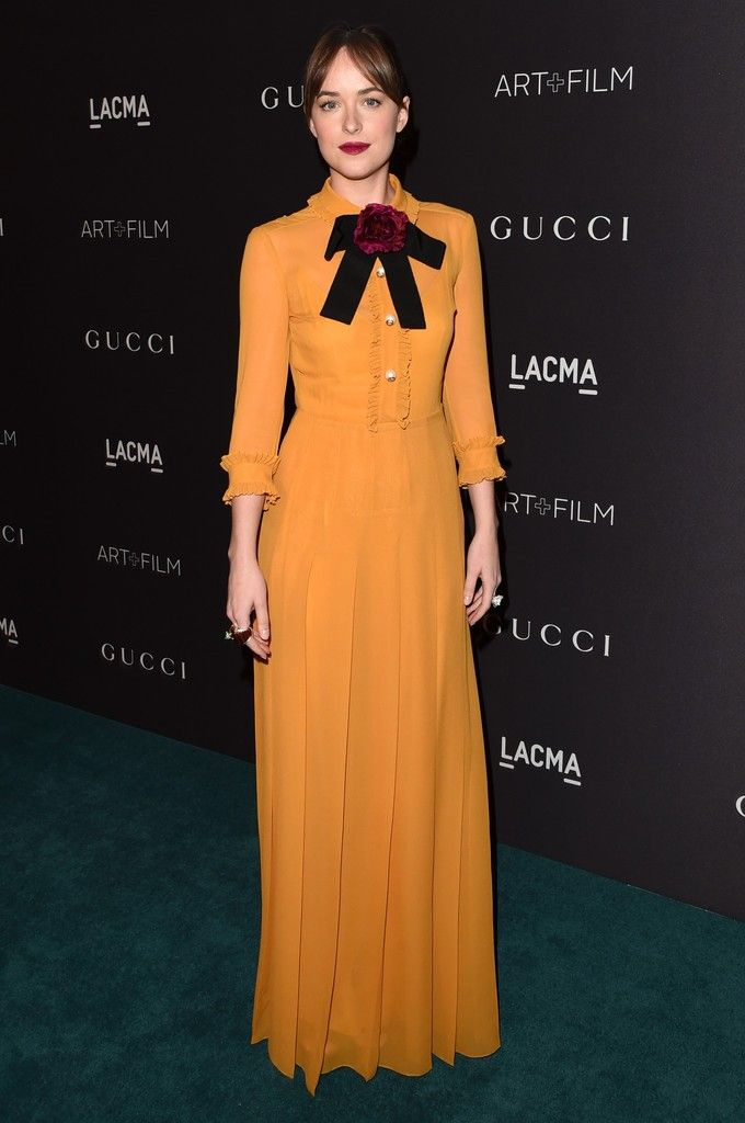Dakota Johnson attends LACMA 2015 Art+Film Gala Honoring James Turrell and Alejandro G Iñárritu, Presented by Gucci at LACMA on November 7, 2015 in Los Angeles, California.  The actress wore a Gucci dress from the Resort 2016 collection