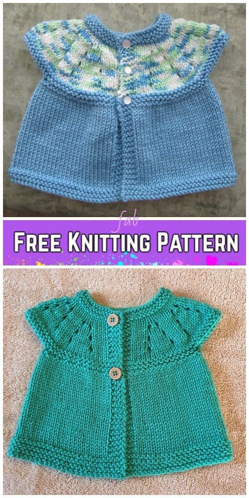Photo of Baby Girl's All-in-One Sleeveless Sweater Top Cardigan Free Knitting Pattern