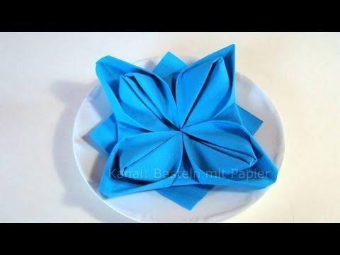 SERVIETTEN FALTEN Anleitung Blume Seerose Lillie DIY NAPKIN FOLDING Instruction ...  #anleitung #blume #falten #lillie #napkin #seerose #servietten #diynapkinfolding