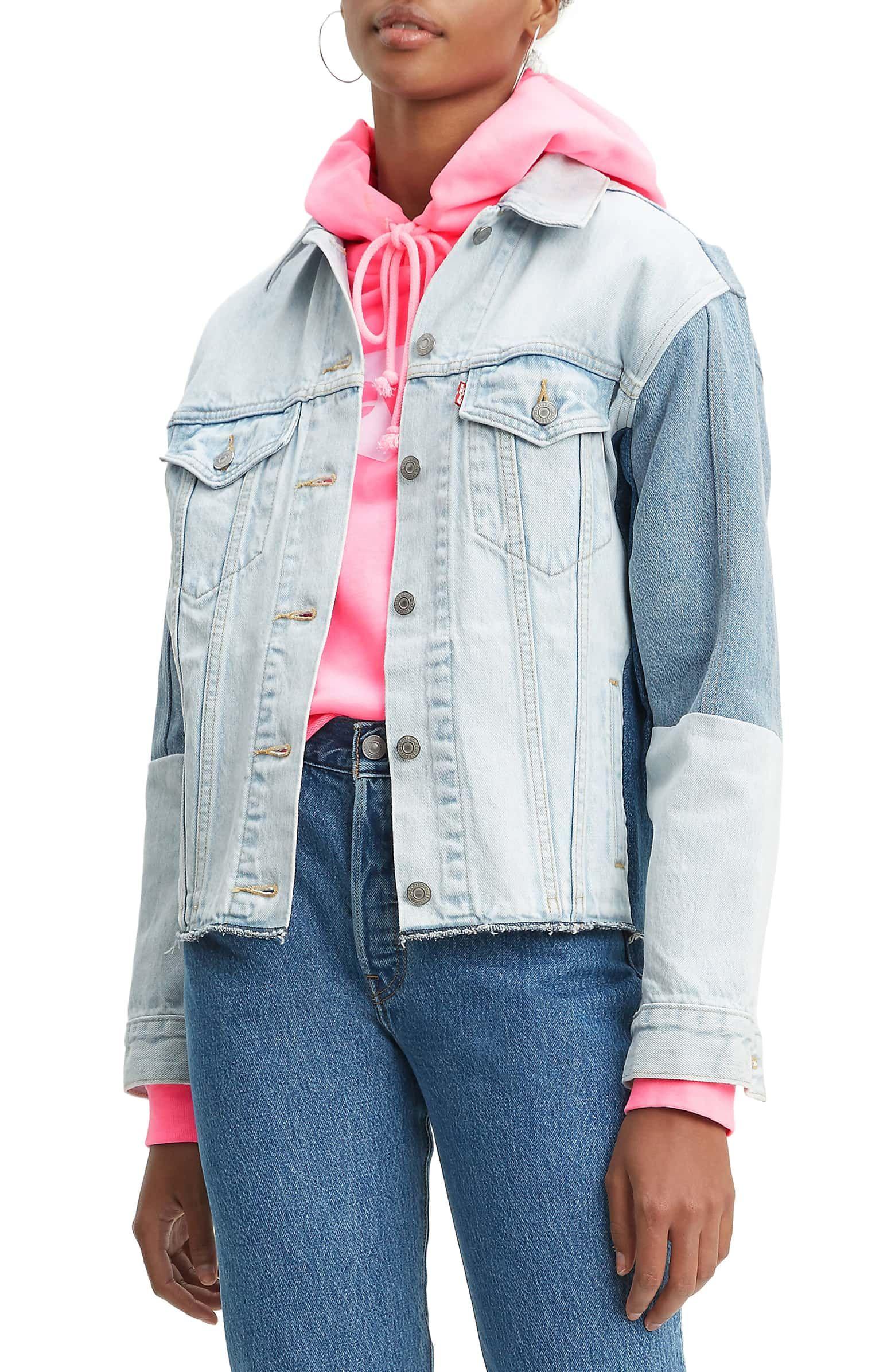 b876ca6f0d Levi's® Ex-Boyfriend Colorblock Denim Trucker Jacket | Nordstrom ...