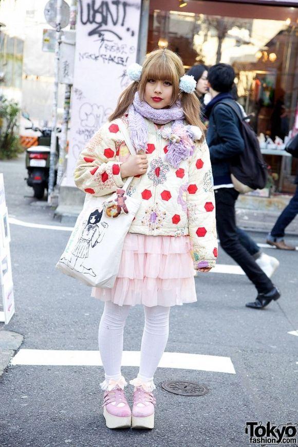 yaya... #kawaii. Harajuku style. Pink platforms with ankle socks and tights. Lace tiered skirt. Pigtails. Adorbs!