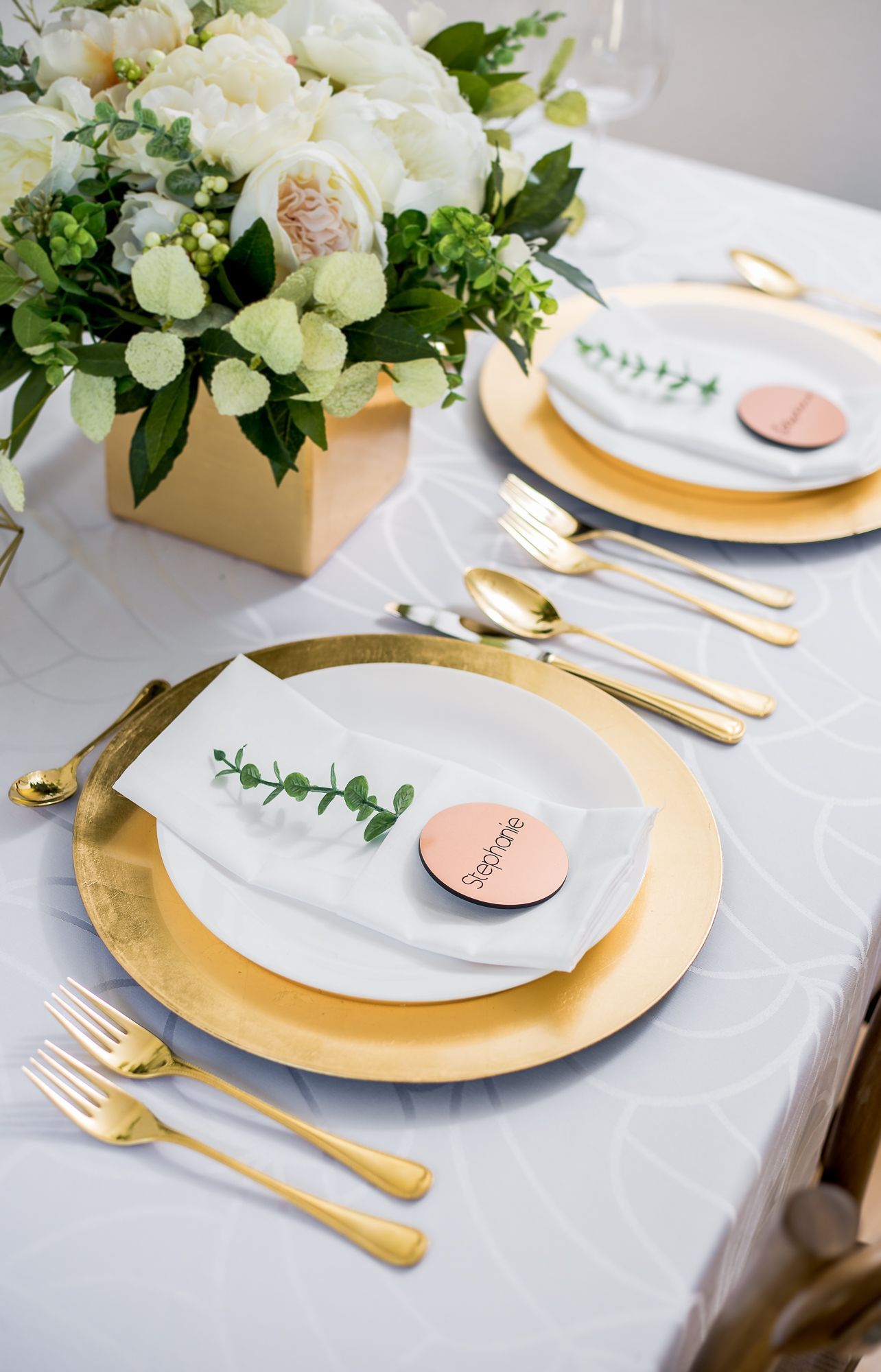 Copper Wedding Place Cards, Engraved Name Card Tiles for