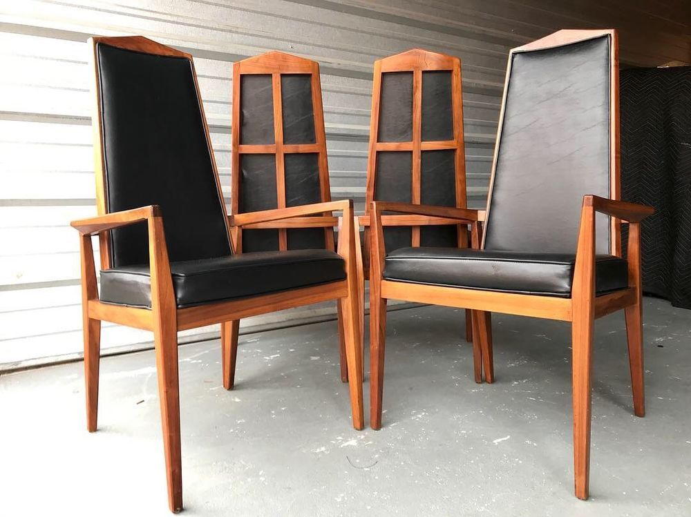 Mid Century Modern Foster Mcdavid High Back Dining Chairs Set Of