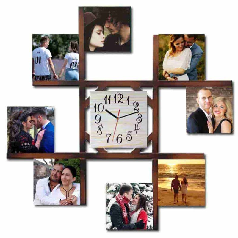 Personalised 8 Picture Frame with Wall Clock | Personalised Gifts ...