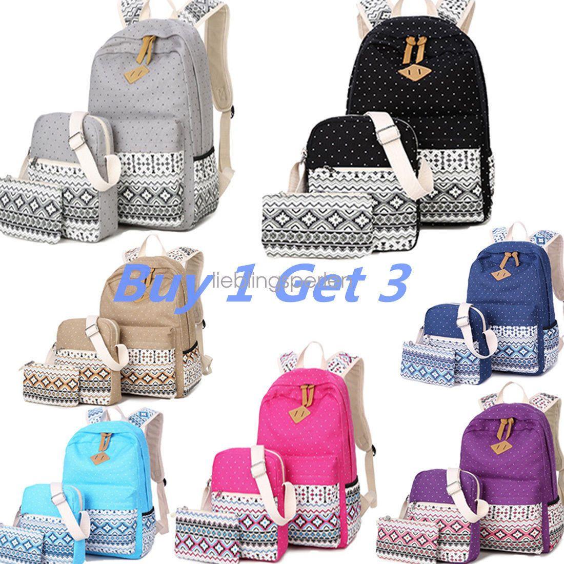 3e149ac3d5 Lp 3Pcs Set Backpack Women Canvas School Bags Travel Bookbagsfor Teenage  Girls