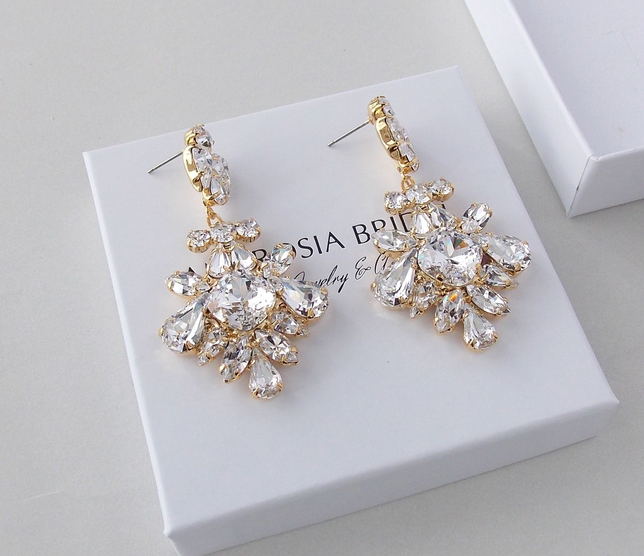 Glimmering, Shimmering Gold  Chandelier Earrings With Sparkling Swarovski  Crystals And Gilded Settings Marvelous