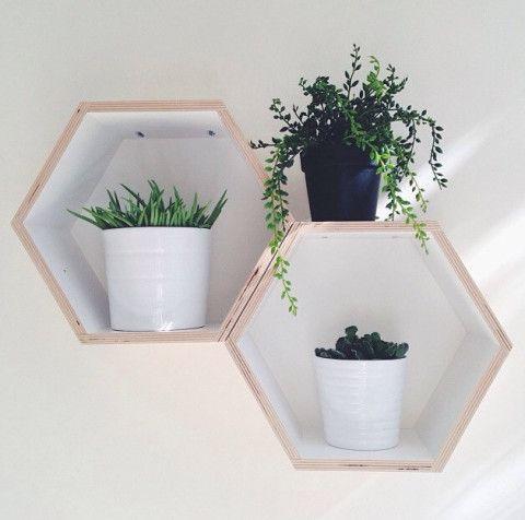 Set of 3 White Floating Honeycomb Shelves