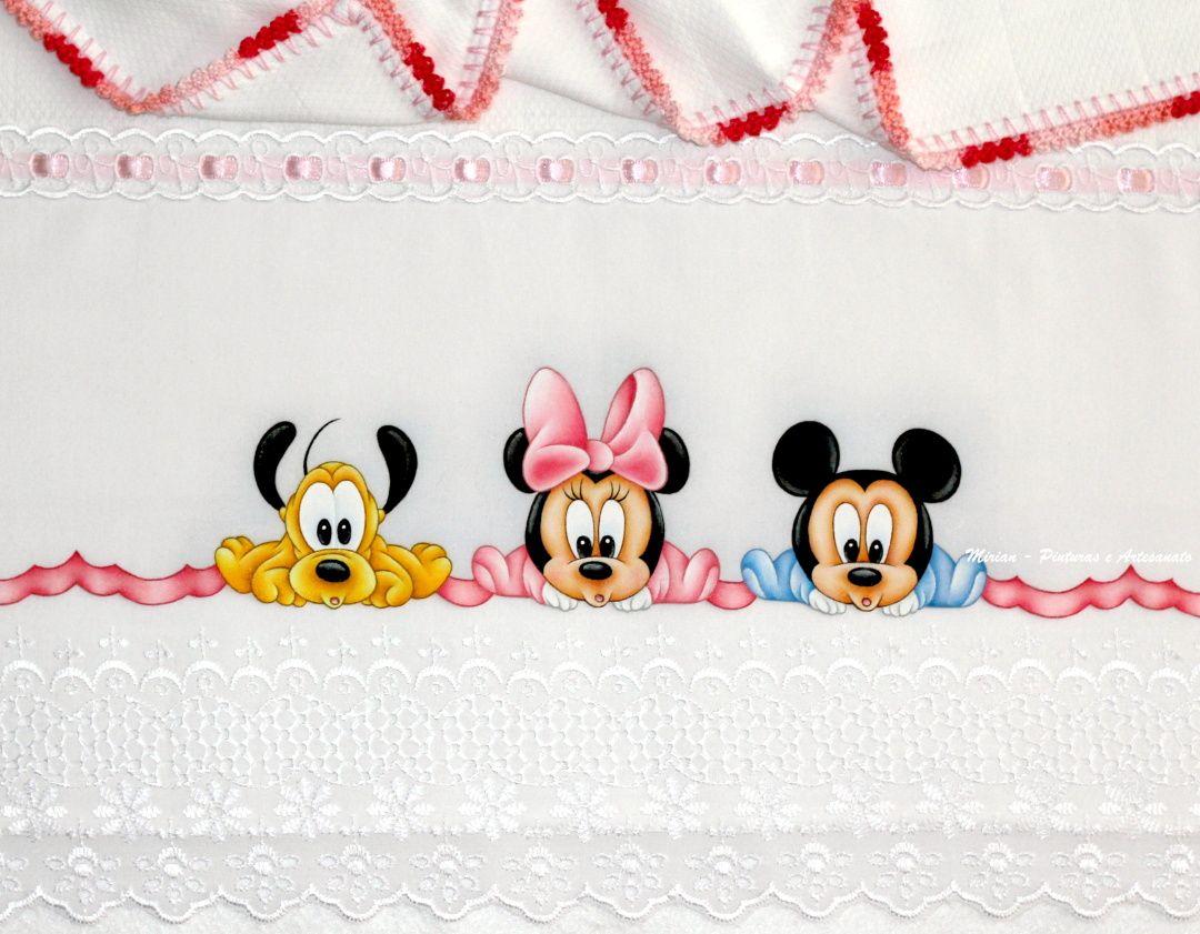 """Desenhos Da Minnie Para Pintar Em Tecido: Manta Fralda """"Pluto, Minnie E Mickey Baby"""""""