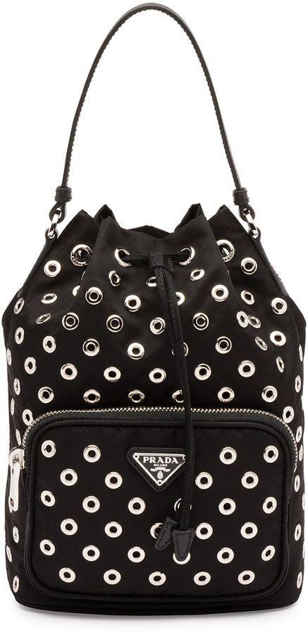 a6010750131530 Prada Tessuto Vela Grommet Small Bucket Crossbody Bag, Black (Nero ...