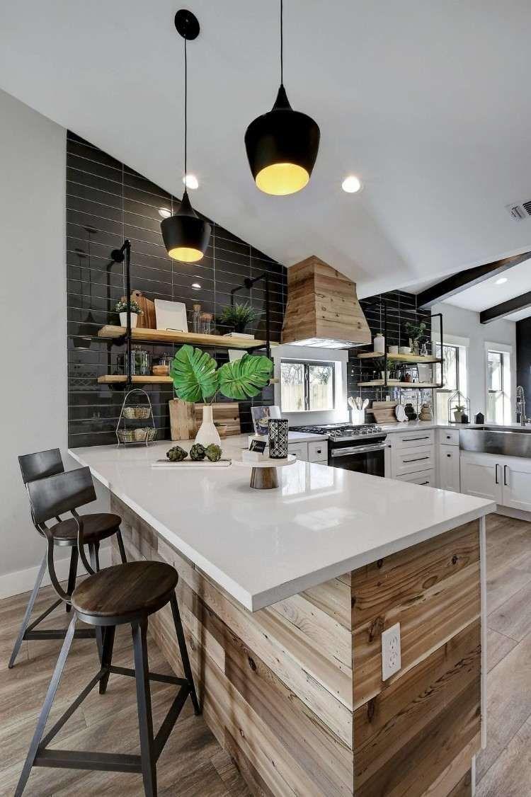 lambris bois aménagement cuisine moderne idée déco maison