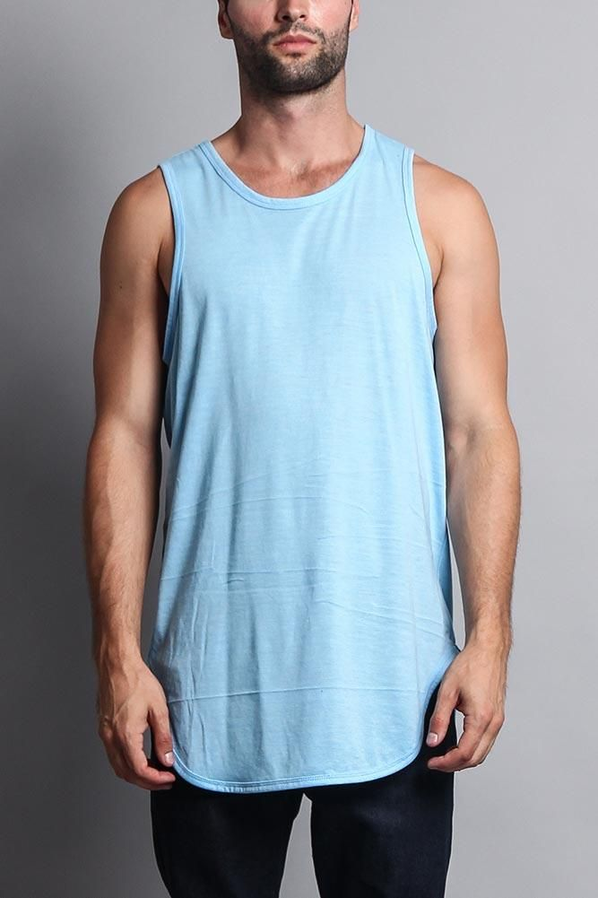 1442e5caf4382 Upgrade your basic tank top with this trendy extended length t-shirt with a  curved baseball-style hem. Works great as a layering piece!