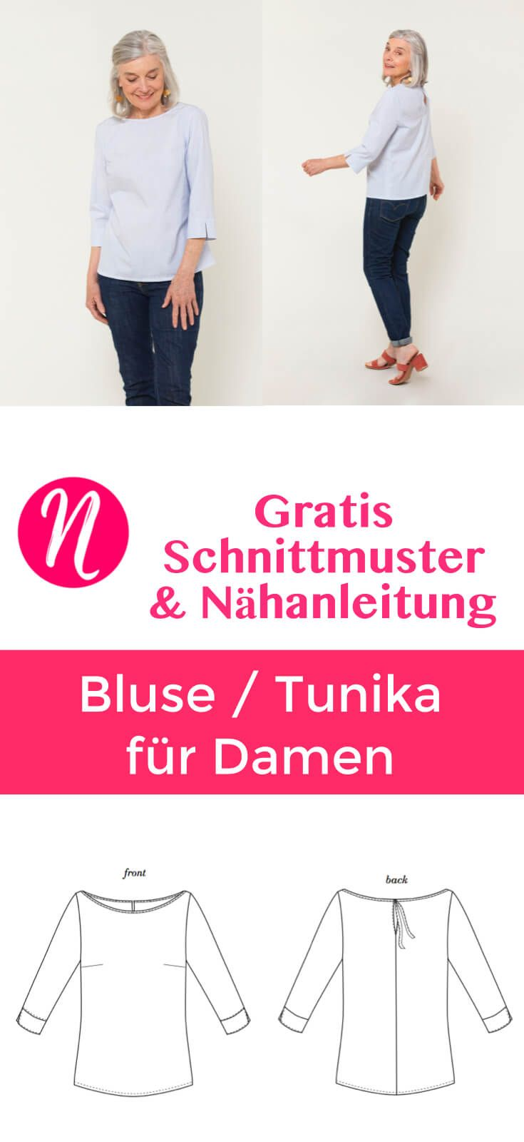 Hübsche Damenbluse - Freebook | Sewing patterns, Sewing clothes and ...
