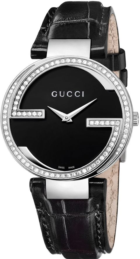 48caed4412c Gucci Watch   Gucci Women s YA133306 Interlocking Black Crocodile Steel and Diamond  Watch