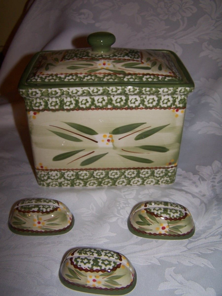 Green Temptations Old World Recipe Box with Lid & 3 Recipe Holders ...