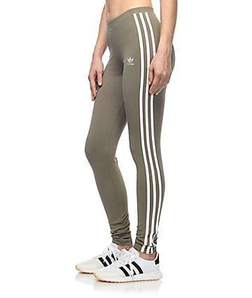 80e0988d526264 adidas 3 Stripe Olive Leggings | I could where this...... | Green ...