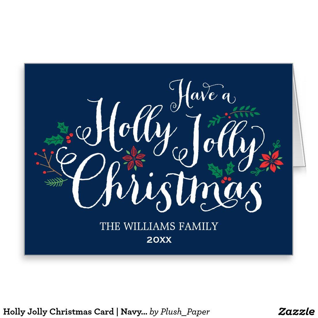 Holly Jolly Christmas Card Navy Blue Navy Blue Navy And Plush