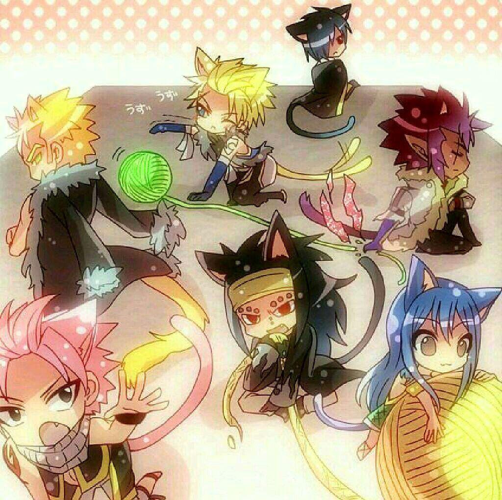 Fairy Tail characters, neko, cats, cute, chibi; Fairy Tail ...