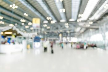 blurred airport background: Blurred background : Traveler at
