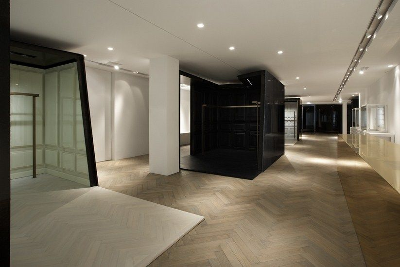chevron wooden floor store concept givenchy paris faubourg riccardo tisci flooring pinterest. Black Bedroom Furniture Sets. Home Design Ideas