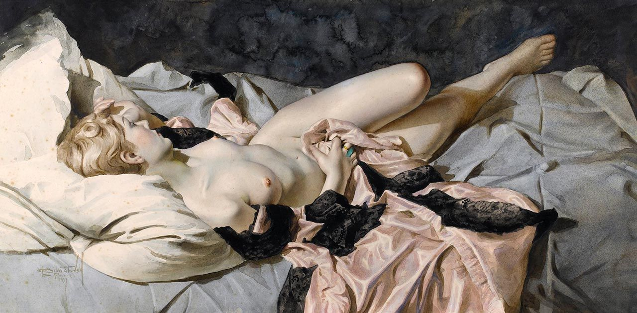 Lev Tchistovsky - Reclining Nude with Pink Robe, 1937 [1280x629]