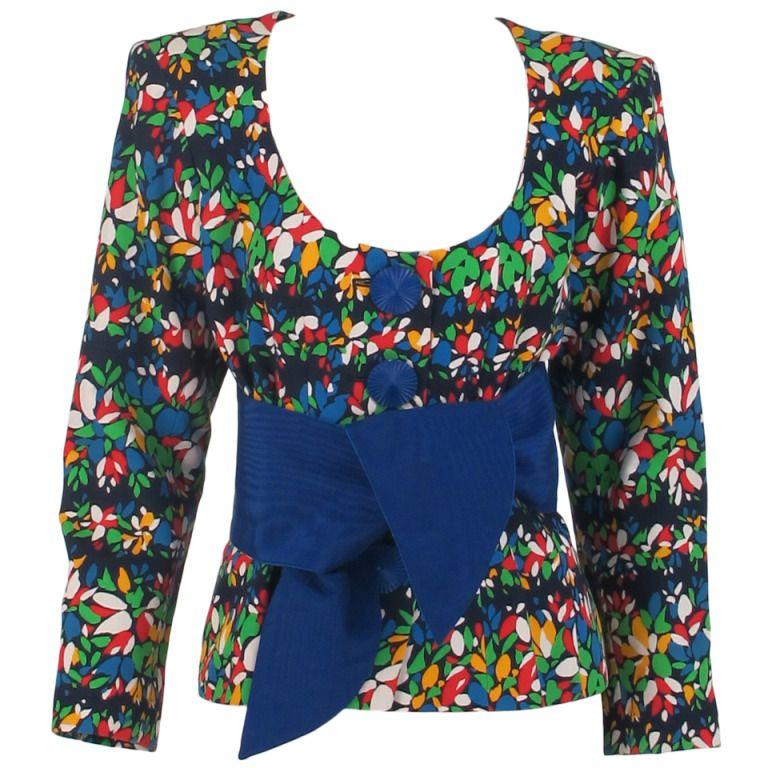 1980s Yves St Laurent YSL vibrant floral jacket with wrap belt