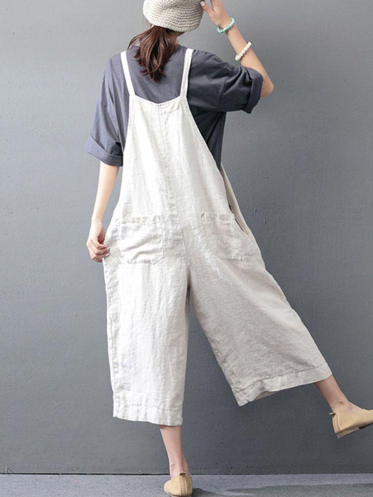 M-5XL Women Solid Color Strap Cotton Wide Leg Trousers Jumpsuit Romper #jumpsuitromper