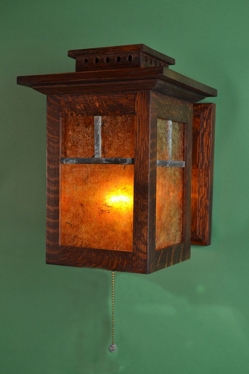 Oak and mica 12 inch tall arts and crafts wall sconce & Oak and mica 12 inch tall arts and crafts wall sconce | Quarter sawn ...