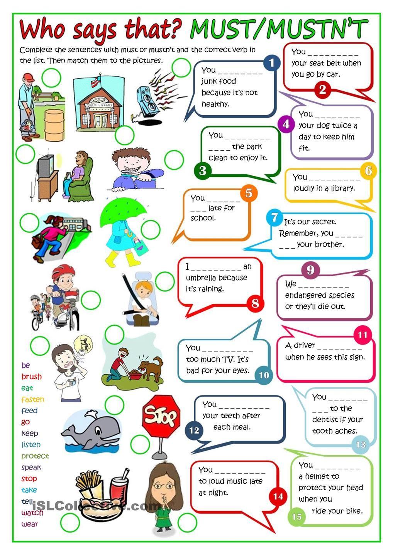 Modal verbs - MUST or MUSTNT | skola | Pinterest | Englisch