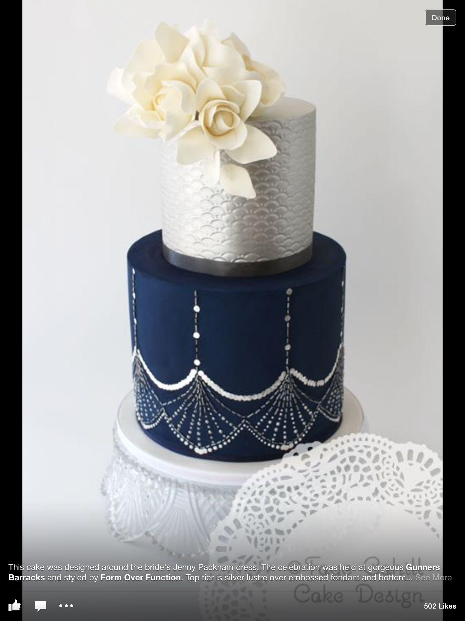 Navy and Silver Metallic wedding cakes, Wedding cakes