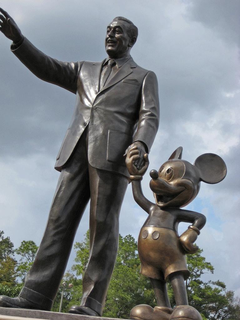 Walt Disney And Mickey Mouse Partners Statue Disneyland