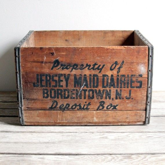 Vintage Wooden Jersey Dairy Deposit Box Crate Cajas De Madera Interiores Cajas