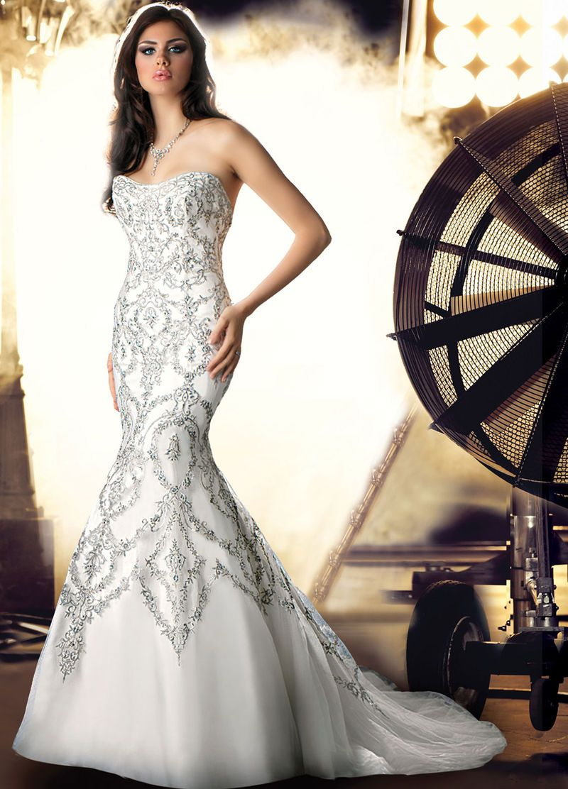 Buy 2014 Sexy Mermaid Trumpet Embroidery Strapless Luxury Wedding Dress Online Cheap Prices