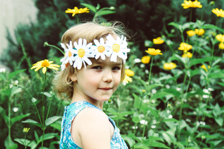 Daisy Headband Felt Flowers Crown Rustic Hair Accessory Wild