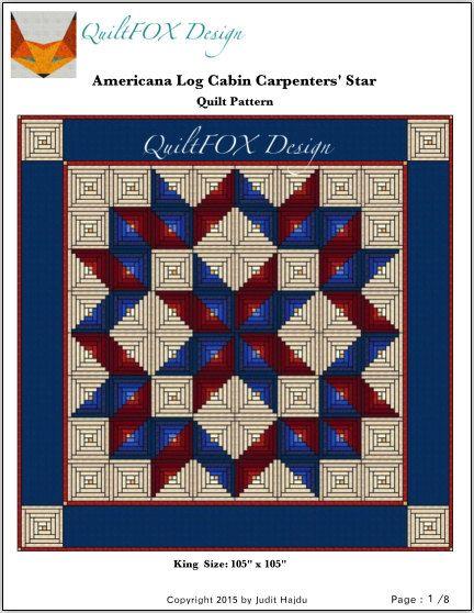 "Americana Log CabinCarpenter's star Quilt pattern - King size: 105"" x 105"""