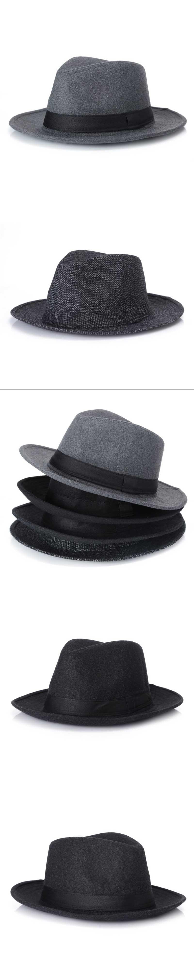 New Fashion Wool men Black Fedora Hat For Women s Wool Wide Brim JazzChic  Cap Vintage Panama 11f66ea3f5e3