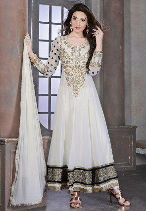 e134eec4af Embroidered Georgette Abaya Style Suit in Off White Salwar Suits Online, Salwar  Kameez Online Shopping