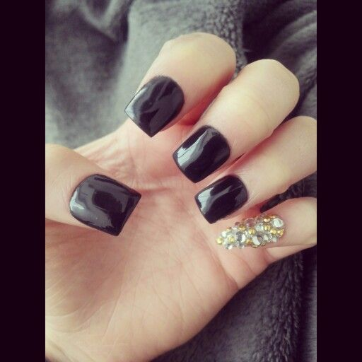 Acrylic Nails Square Black Rhinestones Stiletto Pinky Nails Pinky Rhinestone
