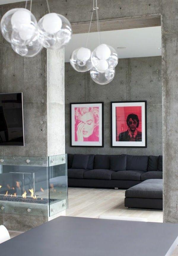 beton farbe wände streichen betonoptik   wandgestaltungen   pinterest - Innendekoration Farbe Wnde
