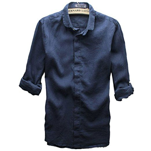 177aff90acbc0 Najia Symbol Mens Casual 100% Linen Long Sleeve Button Up Shirt ShowMen303  (Navy