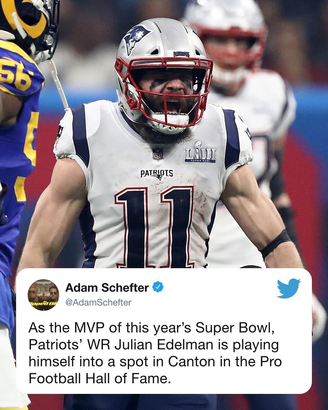 Nfl On Espn On Instagram Julian Edelman S Got A Super Bowl Mvp On His Resume And Adamschefter Thinks He S Playing His Way Int Julian Edelman Super Bowl Mvp