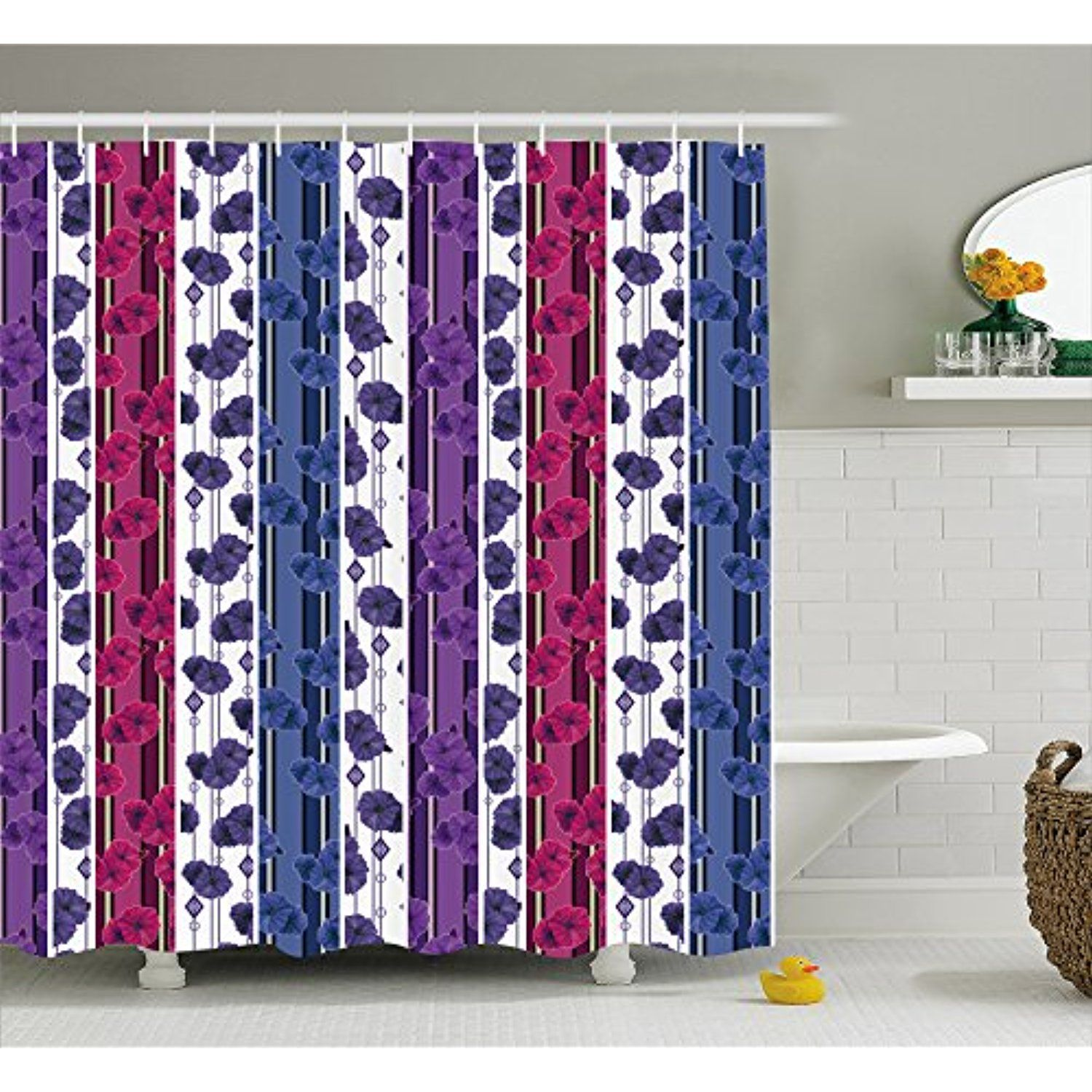 Easter Rabbits Flowers Grass under Blue Sky Shower Curtain Set Bathroom Decor