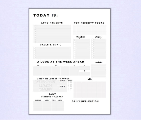 Minimalist Daily Planner Printable Pdf With Appointments Week
