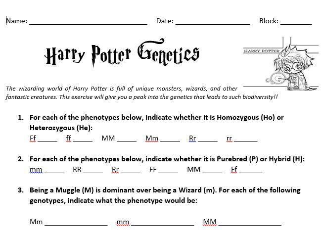 Harry Potter Genetics | Edmodo Spotlight - Science Topics | Pinterest