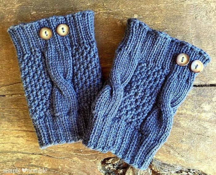 Simple Cable Knit Boot Cuffs Cable Moss Stitch And Knit Crochet