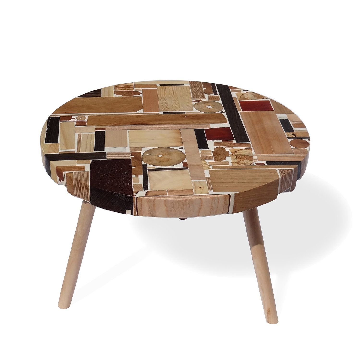 Wooden Coffee table made of wood pieces remnants from the