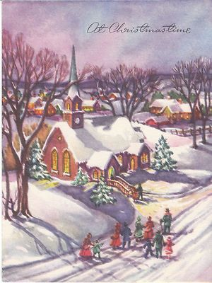 Vintage Christmas Card Walking to Church Snow Made in USA Small ...