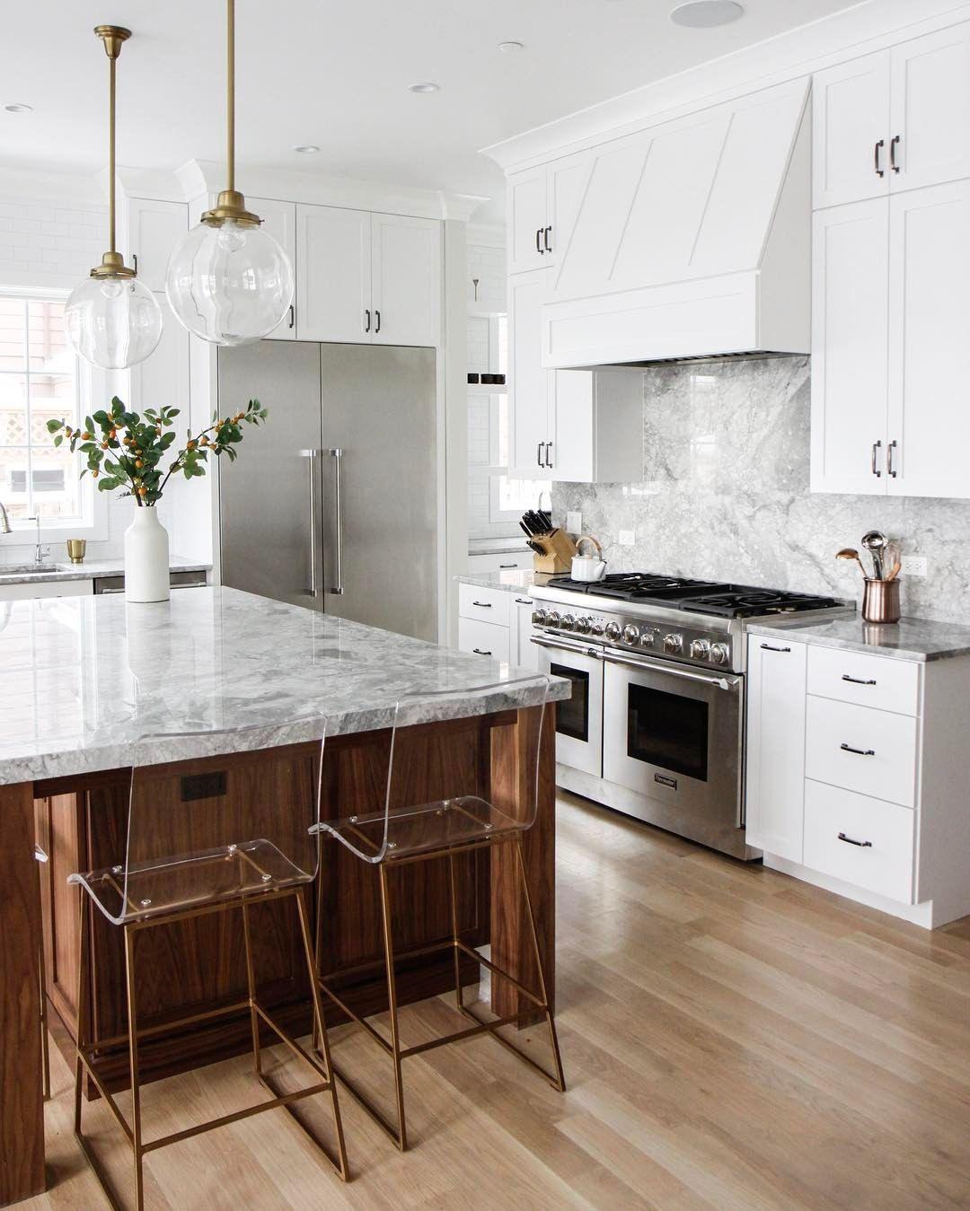 How To Brighten Up A Dark Wood Kitchen White Marble Kitchen With Gold And Wood Kitchen Interior Interior Design Kitchen Kitchen Inspirations