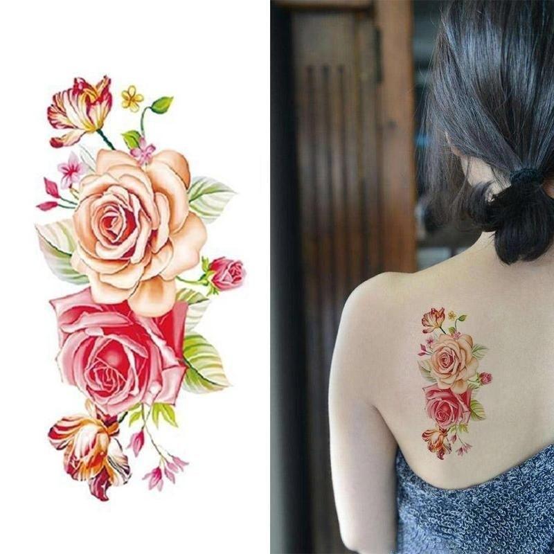 7484d5705c652 Sexy 3D Big Rose Flower Waterproof Temporary Tattoo Stickers Women Men Arm  Body